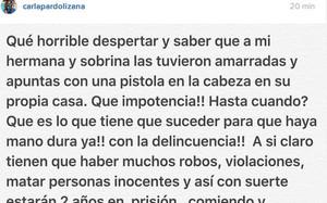 Este es el mensaje en Instagram de Carla Pardo
