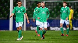 Los jugadores del Werder Bremen, durante el último encuentro liguero