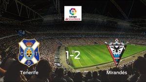 El CD Mirandés suma tres puntos a su casillero frente al Tenerife (1-2)