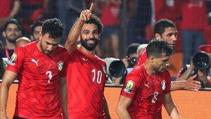Salah celebra el segundo tanto de su selección