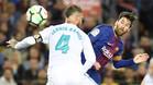 Sergio Ramos durante el Barça-Real Madrid de la Liga 2017/18