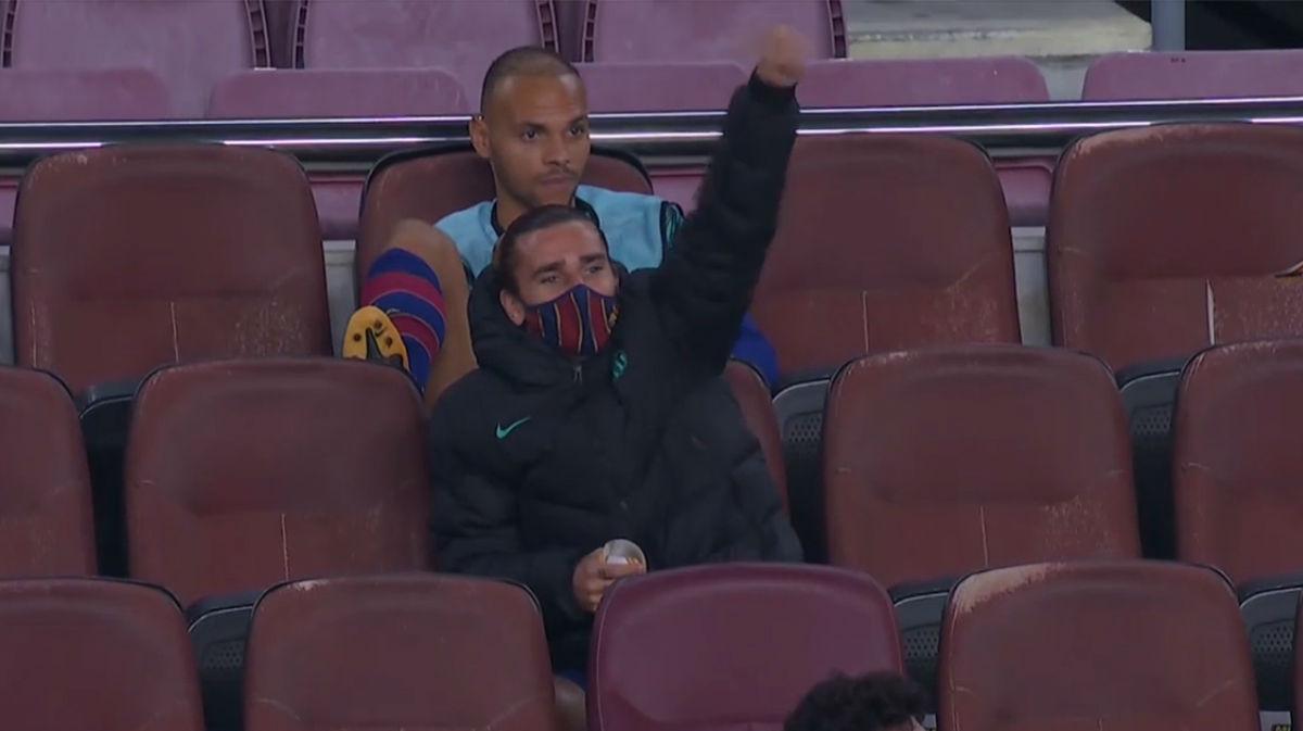 La significativa celebración de Griezmann del gol de Dembélé