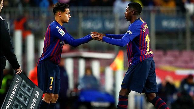 Valverde insiste en que ni Coutinho ni Dembélé están por encima uno de otro