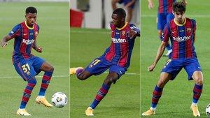 Ansu Fati, Ousmane Dembélé y Francisco Trincao buscan una plaza en el once inicial de Ronald Koeman