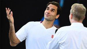 Federer, durante su entrevista post-partido