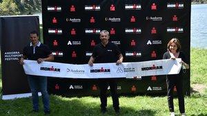 Jordi Gallardo, Agustí Pérez, Verònica Canals en la presentación del Andorra Multisport Festival
