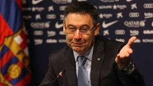 Josep Maria Bartomeu, presidente del FC Barcelona, ha pasado balance al año 2016 este martes en la Sala de Prensa Ricard Maxenchs del Camp Nou