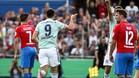 Lewandowski celebrando el tanto de la victoria