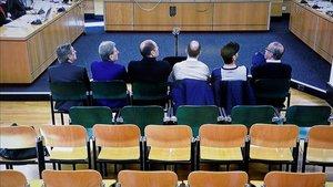 Los encausados, en el juicio por el denominado caso Osasuna en la Sección Segunda de la Audiencia de Navarra
