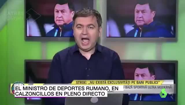 El ministro rumano de deportes la lía en directo mostrando su ropa interior