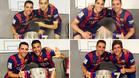 Munir, Bartra, Sergi Roberto y Alves posando junto a Xavi con el título de Liga