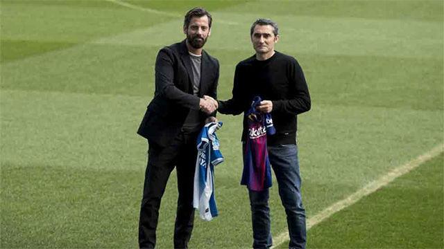 Quique Sánchez Flores y Valverde posaron antes del derbi