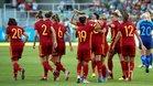 La selección española celebra su clasificación para Francia 2019