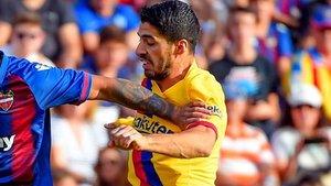 Suárez, durante el partido