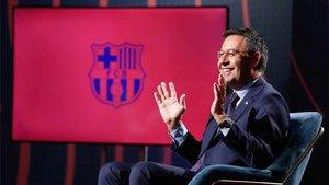 Josep Maria Bartomeu, durante la entrevista en Barça TV