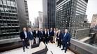 La junta directiva del Barça, durante su visita a la oficina de Nueva York