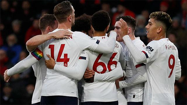 El Liverpool golea al Bournemouth y se le pone cara de campeón