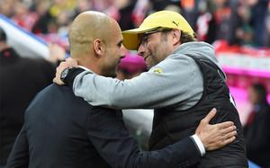Saludo entre Pep Guardiola y Jurgen Klopp en la pasada Bundesliga