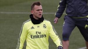 Cheryshev entrenando con el Real Madrid