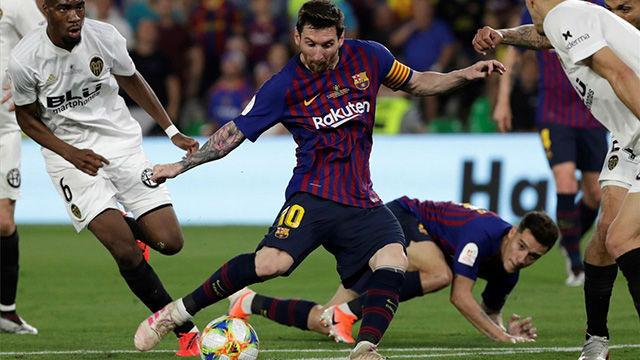 La joya de Messi que se topó con el poste: si lo marca le dan la Copa directamente a Leo