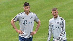 Lewandowski y Cuisance, en un entrenamiento