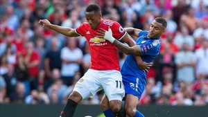 Martial, en un partido con el Manchester United