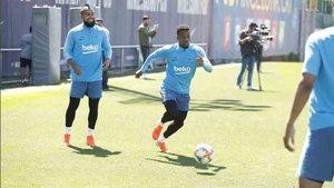 Nelson Semedo, durante el entrenamiento del Barça de este jueves