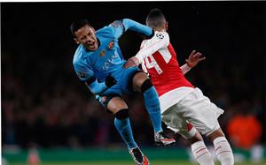 Neymar, en el encuentro ante el Arsenal