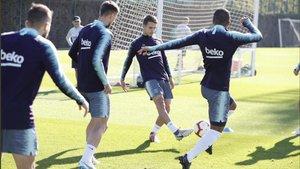 Ernesto Valverde dirigió el primer entrenamiento de la semana