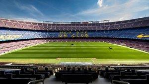 Labores de mantenimiento del césped del Camp Nou durante esta semana
