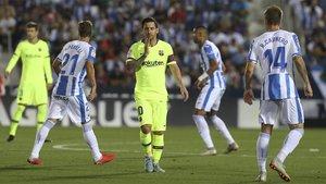 Leo Messi (centro) durante el Leganés-Barça de la sexta jornada de LaLiga 2018/19