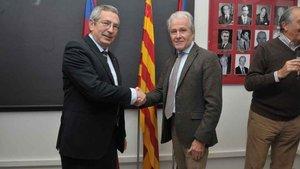 Pau Vilanova dio la enhorabuena a Ramon Alfonseda por su nueva etapa al frente de la Agrupació