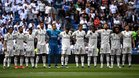 El Real Madrid, antes de arrancar el partido