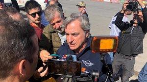 Sainz atiende a los medios tras la etapa