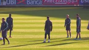 Sarri y Cristiano hablan largo y tendido en el entrenamiento