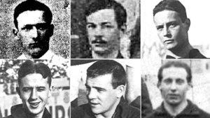 Seis `sportmen¿ de los tiempos heroicos del Barça. Todos combatieron en la Primera Guerra Mundial después de su paso por la entidad azulgrana. De izquierda a derecha y de arriba a abajo: Fenoullière, Morris II, Pattullo, Rozitsky, Steel y Carlier