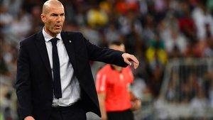 Zidane, en el partido ante el Valencia