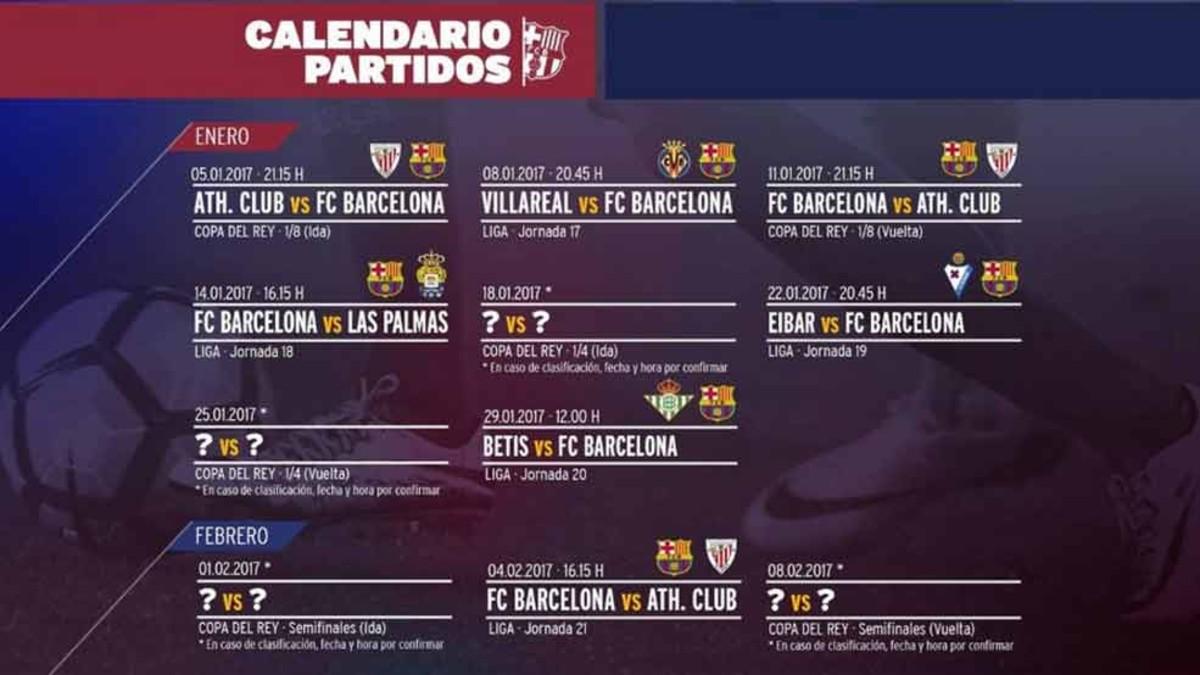 El calendario del Barça en el mes de enero de 2017