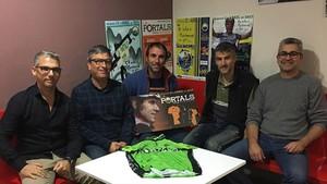 Albert Balcells, con los responsables de La Portals2018
