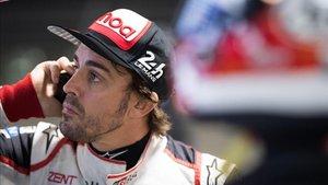 Alonso, durante los ensayos en Sebring