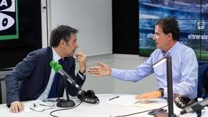 Bartomeu, durante la entrevista con De la Morena en El Transistor