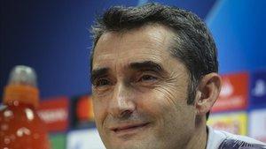 Ernesto Valverde, durante su rueda de prensa