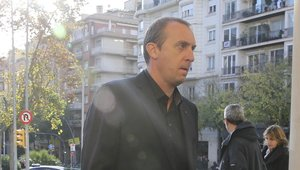 El exportero de balonmano culé, David Barrufet, a su llegada al funeral