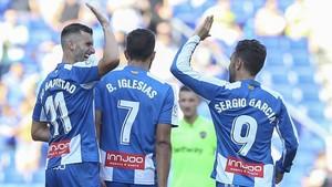 Leo Baptistao, Borja Iglesias y Sergio García, tres de los goleadores del Espanyol en estas cuatro primeras jornadas.