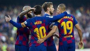 Los jugadores del Barça marcaron cinco goles en el Camp Nou