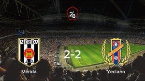 El Mérida AD y el Yeclano Deportivo suman un punto tras empatar a dos