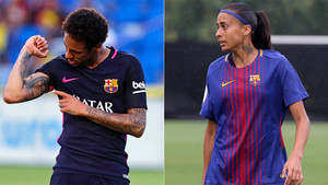 Neymar y Andressa Alves siguen el mismo ritual antes de cada partido