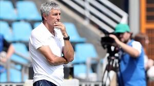 Quique Setién en la pretemporada del Real Betis