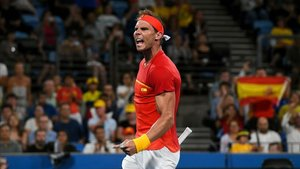 Rafael Nadal celebra el pase a la final tras vencer a De Miñaur