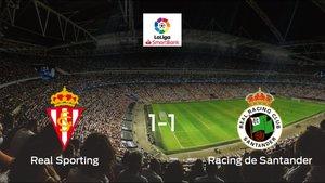 Reparto de puntos en El Molinón: Real Sporting1-1 Racing de Santander